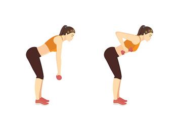 Remo inclinado y elevación de tríceps